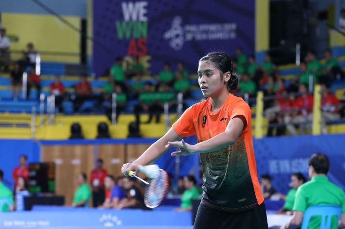 Pemain tunggal putri Indonesia, Gregoria Mariska Tunjung, tampil pada perempat final SEA Games 2019, Sabtu (7/12/2019)