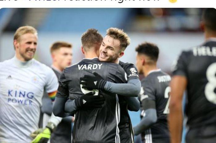 Penyerang Leicester City, Jamie Vardy, memeluk James Maddison seusai laga Liga Inggris melawan Aston Villa di Stadion Villa Park, Minggu (8/12/2019).