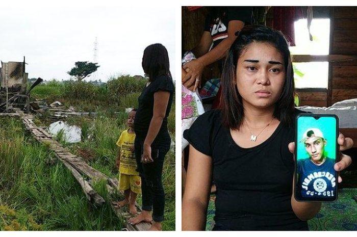 Siti Zulaeha saat melihat rumahnya yang telah rata dengan tanah (kiri), Siti memperlihatkan wajah sang kekasih (kanan)