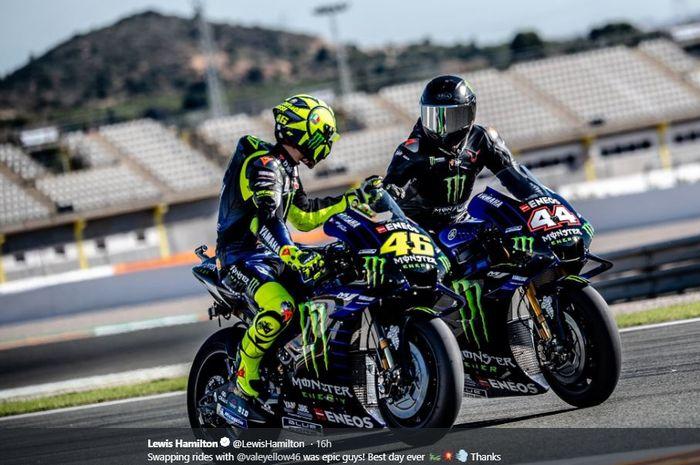 Momen saat Lewis Hamilton dan Valentino Rossi berkendara bersama di Valencia, Rabu (11/12/2019)