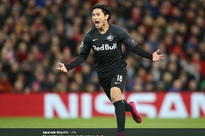 Gelandang serang RB Salzburg, Takumi Minamino, yang bakal menjadi pemain Liverpool pada Januari 2020 mendatang.