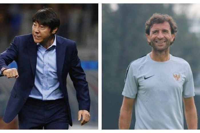 Kolase foto dua kandidat pelatih timnas Indonesia, Shin Tae-yong dan Luis Milla.
