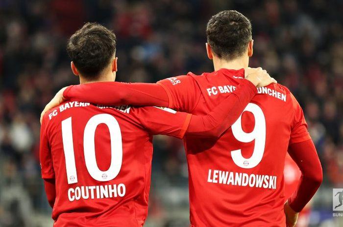 Philippe Coutinho mencetak hat-trick dan membuat dua assist bagi Robert Lewandowski dalam kemenangan 6-1 Bayern Muenchen atas Werder Bremen pada pekan ke-15 Bundesliga, Sabtu (14/12/2019) di Allianz Arena.