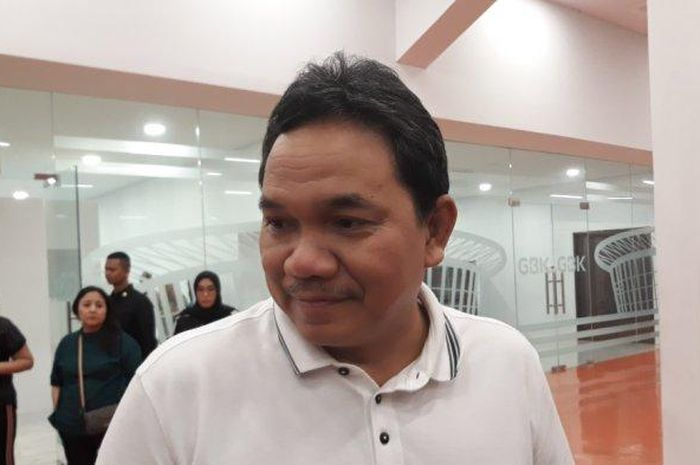 Presiden klub Madura United, Achsanul Qosasi saat ditemui selepas laga menghadapi Persija Jakarta di Stadion Utama Gelora Bung Karno, Jakarta Pusat, Jumat (13/12/2019).
