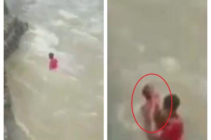Viral Video Detik-detik Penyelamatan Balita yang Terseret Arus Sungai oleh Babinsa, Netizen: Super Hero di Dunia Nyata!