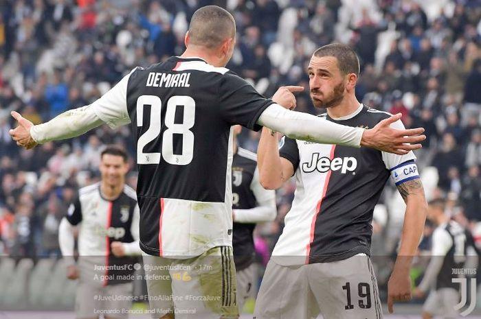 Selebrasi Leonardo Bonucci setelah mencetak gol ke gawang Udinese pada laga Juventus Vs Udinese, Minggu (15/12/2019).