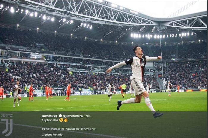 Selebrasi Cristiano Ronaldo usai mebobol gawang Udinese di Stadion Allianz, Minggu (15/12/2019).