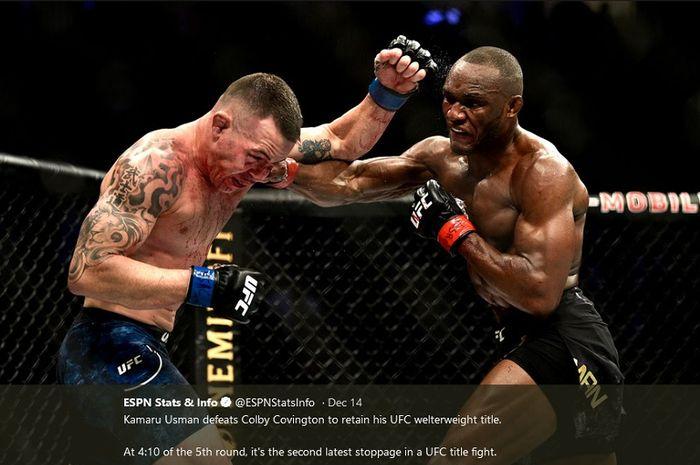 Colby Covington (kiri) dan Kamaru Usman (kanan) pada UFC 245, Minggu (15/12/2019).