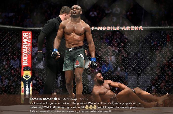 Petarung UFC,  Kamaru Usman (berdiri).
