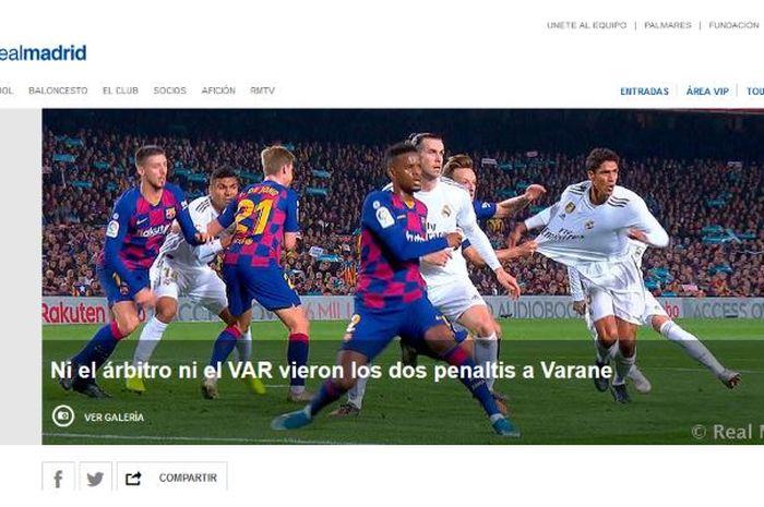 Situs resmi Real Madrid melayangkan protes terkait laga el clasico melawan Barcelona di Stadion Camp Nou, Rabu (18/12/2019).