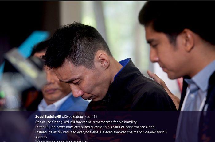 Lee Chong Wei menangis saat memutuskan pensiun sambil ditemani Menpora Malaysia, Syed Saddiq.
