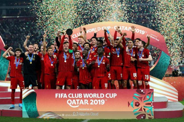 Para pemain Liverpool melakukan selebrasi setelah berhasil menjuarai Piala Dunia Antarklub 2019.