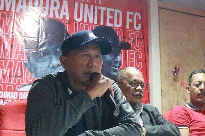 Rahmad Darmawan diperkenalkan secara resmi sebagai pelatih baru Madura United seusai laga melawan Bali United, Minggu (23/12/2019).