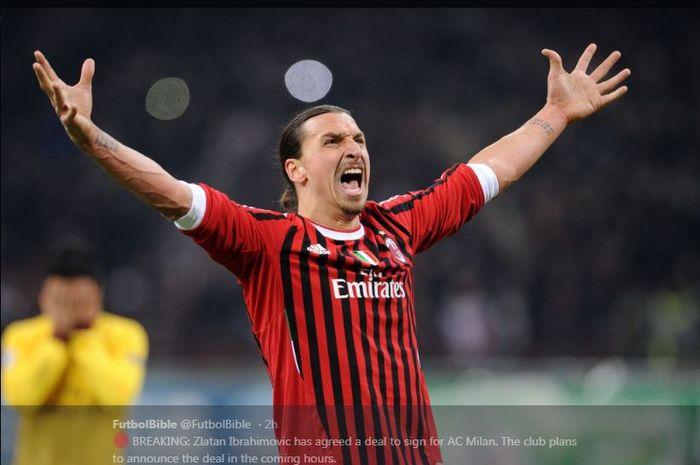 Zlatan Ibrahimovic saat memperkuat AC Milan.