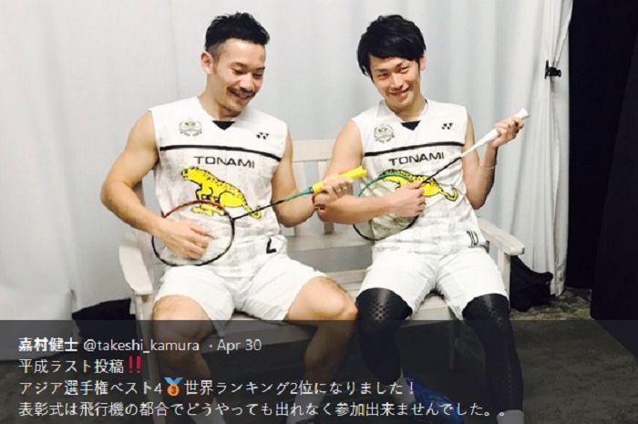 Pasangan ganda putra Jepang, Keigo Sonoda (kiri) dan Takeshi Kamura (kanan).