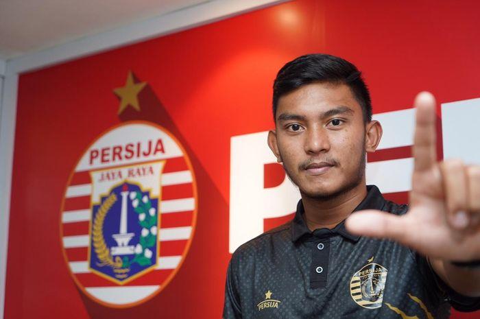 Rafli Mursalim saat diperkenalkan sebagai pemain baru Persija Jakarta untuk mengarungi musim 2020.