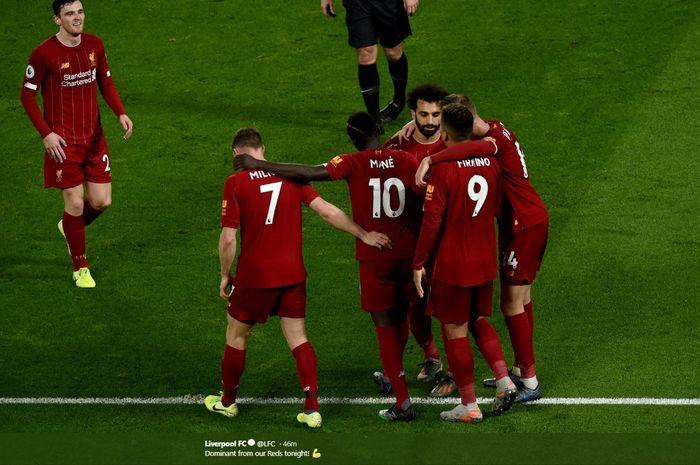 Selebrasi para pemain Liverpool usai menang atas Sheffield United, Kamis (2/1/2020) atau Jumat dini hari WIB.