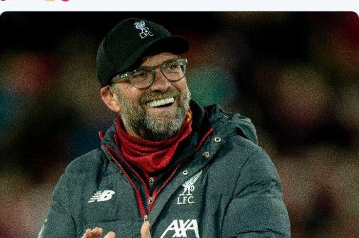 Ekspresi pelatih Liverpool, Juergen Klopp, seusai laga babak ketiga Piala FA melawan Everton di Stadion Anfield, Minggu (5/1/2020).