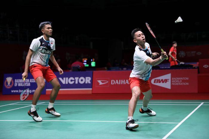Pasangan ganda putra Indonesia, Fajar Alfian/Muhammad Rian Ardianto, tampil pada babak pertama Malaysia Masters 2020 di Axiata Arena, Bukit Jalil, Kuala Lumpur, Selasa (7/1/2020).