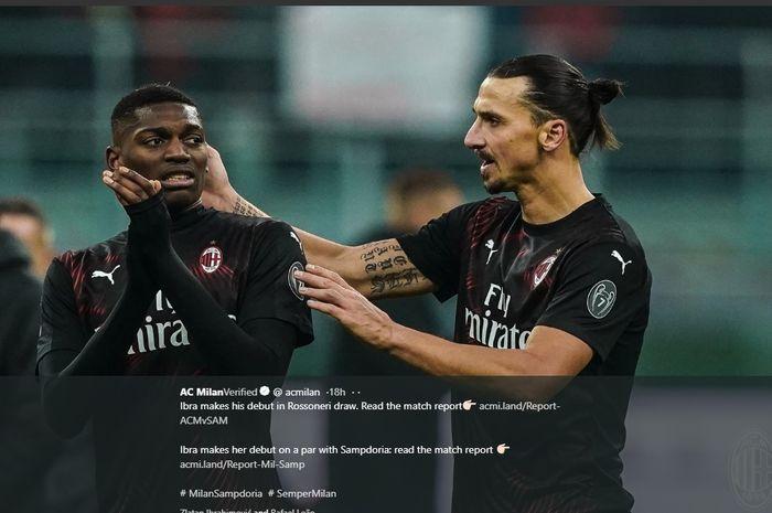 Zlatan Ibrahimovic gagal membantu AC Milan mencetak gol pada pekan ke-18 Liga Italia melawan Sampdoria, Senin (6/1/2020) di San Siro.