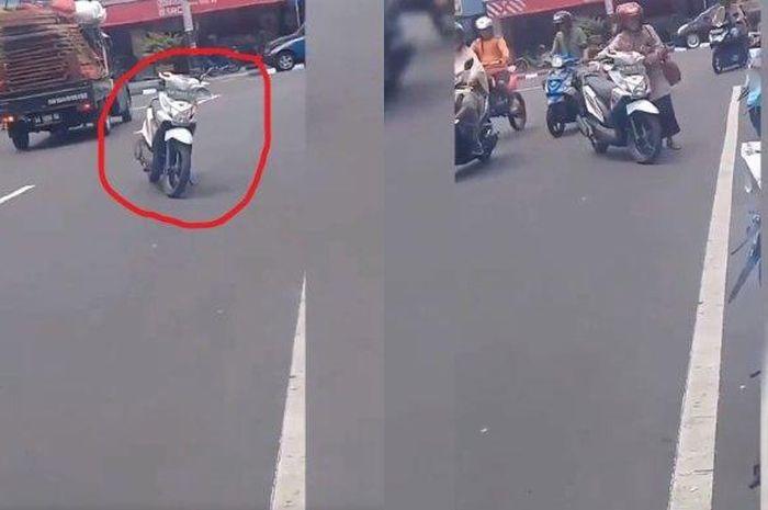 Viral, emak-emak parkir di tengah jalan