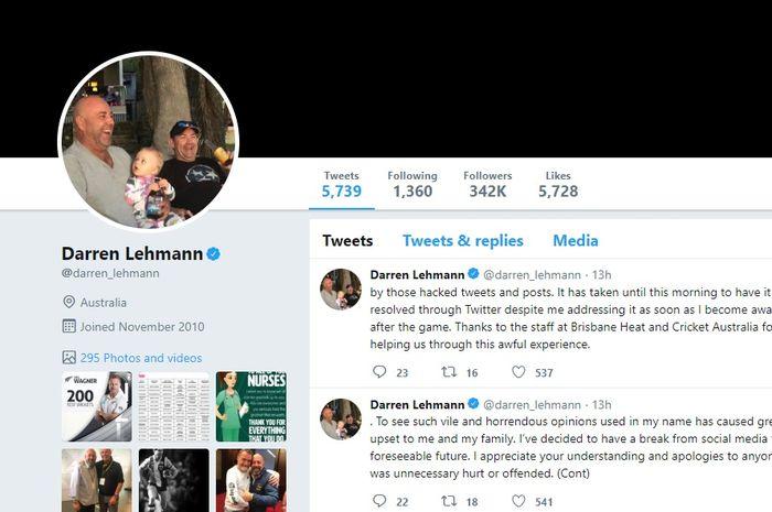 Akun Twitter Darren Lehman yang diretas.
