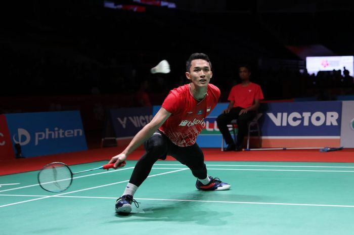 Pebulu tangkis tunggal putra Indonesia, Jonatan Christie, pada babak pertama Malaysia Masters 2020 di Axiata Arena, Bukit Jalil, Kuala Lumpur, Rabu (8/1/2020).