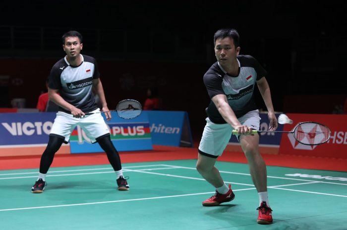 Pasangan ganda putra Indonesia, Mohammad Ahsan/Hendra Setiawan, pada babak kedua Malaysia Masters 2020 di Axiata Arena, Bukit Jalil, Kuala Lumpur, Kamis (9/1/2020).