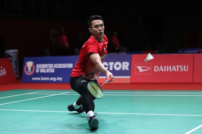 Aksi tunggal putra Indonesia, Jonatan Christie saat berlaga pada babak perempat final Malaysia Masters 2020, Jumat (10/1/2020)
