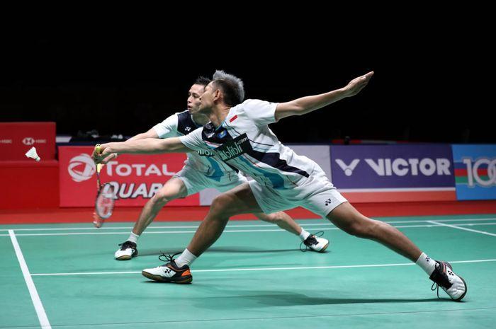 Ganda putra Indonesia, Fajar Alfian/Muhammad Rian Ardianto, tampil pada semifinal Malaysia Masters 2020 di Axiata Arena, Kuala Lumpur, Sabtu (11/1/2020).