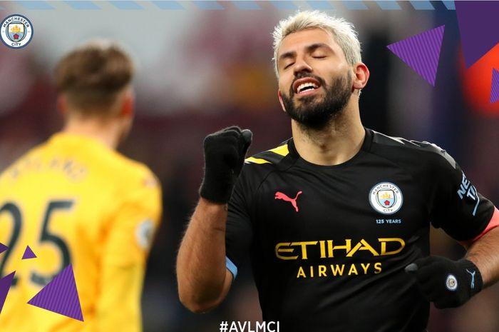 Sergio Aguero mencetak hat-trick saat Manchester City mengalahkan Aston Villa 6-1 dalam lanjutan Liga Inggris, Minggu (12/1/2020) di Villa Park.