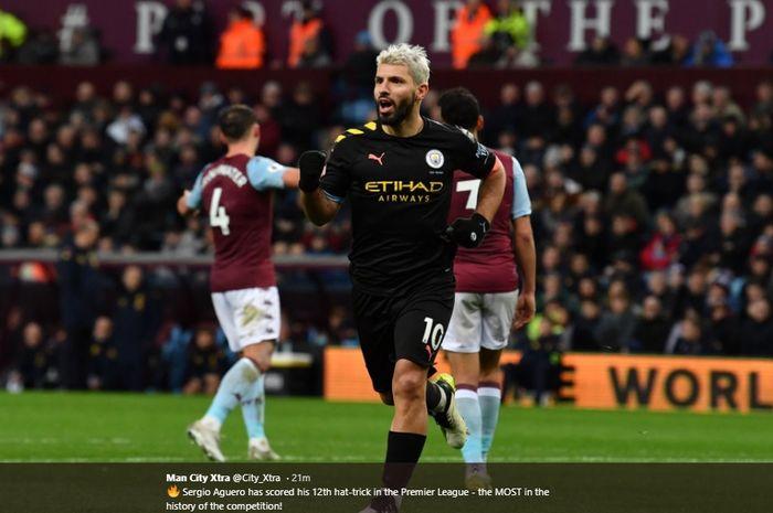 Sergio Aguero merayakan gol yang dicetaknya ke gawang Aston Villa pada pertandingan pekan ke-22 Liga Inggris, Minggu (12/1/2020).