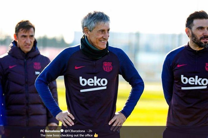 Quique Setien, ditunjuk menjadi pelatih baru Barcelona menggantikan Ernesto Valverde.