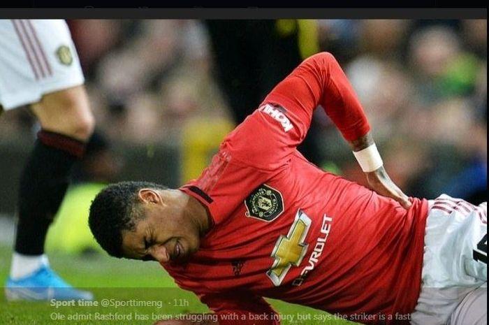 Striker Manchester United, Marcus Rashford mengalami cedera.