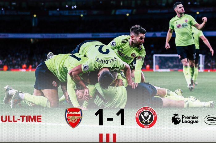 Arsenal hanya bermain imbang 1-1 melawan Sheffield United pada laga pekan ke-23 Premier League, Sabtu (18/1/2020) di Stadion Emirates.