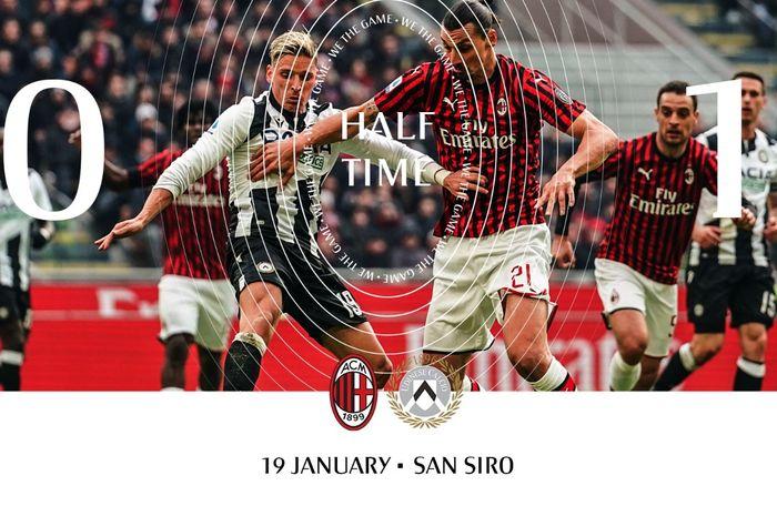 AC Milan tertinggal  0-1 dari Udinese pada babak pertama laga pekan ke-23 Liga Italia, Minggu (19/1/2020) di San Siro.