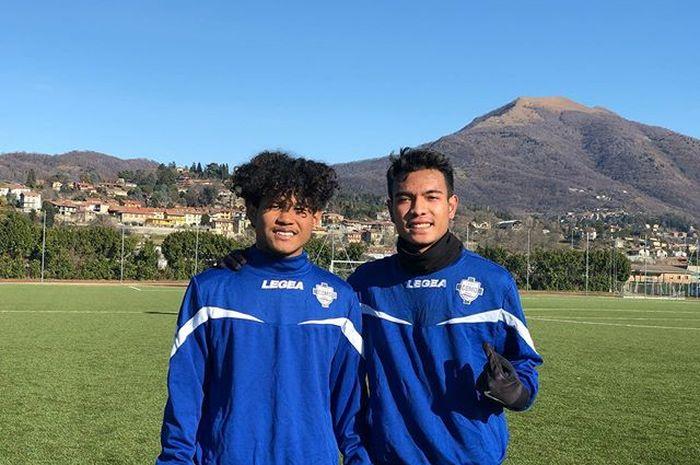 Pemain Garuda Select, Amiruddin Bagus Kahfi dan Brylian Aldama, saat mengikuti latihan bersama tim senior Como FC pada Senin (20/1/2020).