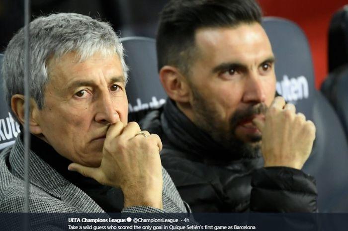 Pelatih Barcelona, Quieque Setien, pada laga perdananya di Camp Nou, Minggu (19/1/2020).
