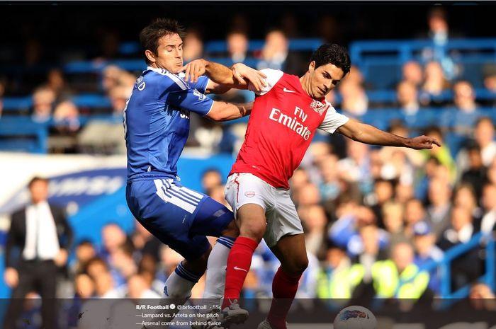 Mikel Arteta (kanan) dan Frank Lampard berduel saat masih menjadi pemain Arsenal dan Chelsea.