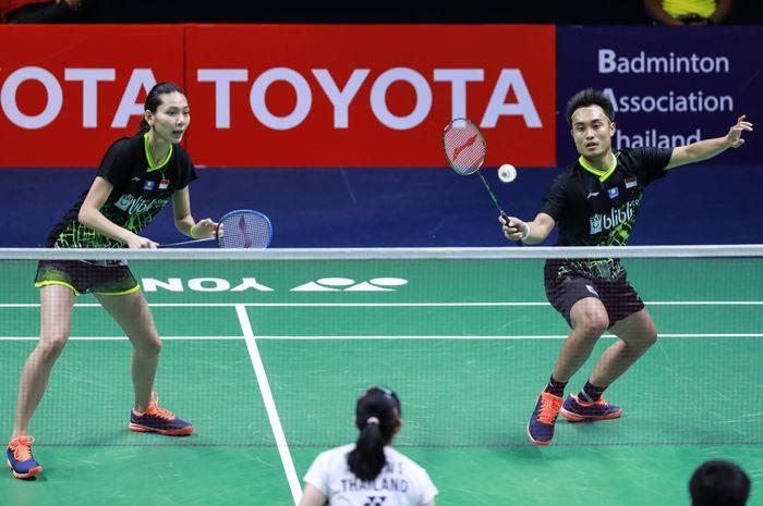 Pasangan ganda campuran Indonesia, Hafiz Faizal (kanan) dan Gloria Emanuelle Widjaja, tampil pada babak pertama Thailand Masters 2020, Rabu (22/1/2020) di Bangkok, Thailand.