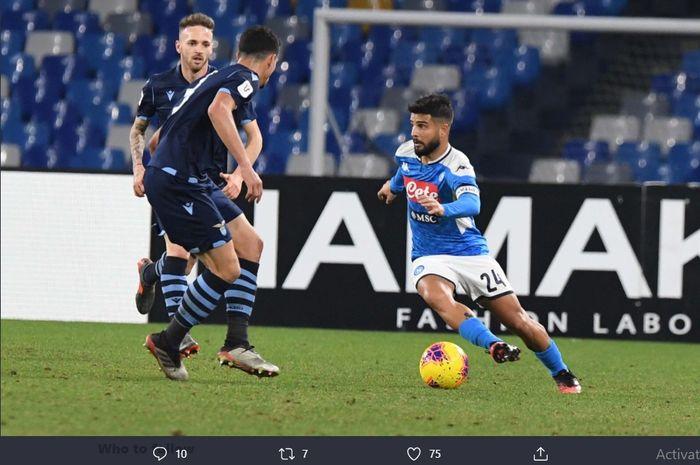 Lorenzo Insigne menentukan kemenangan 1-0 Napoli atas Lazio di babak perempat final Coppa Italia, Selasa (21/1/2020) di San Paolo.