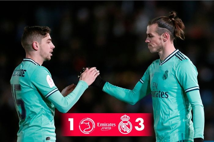 Gareth Bale, mencetak gol pembuka skor yang membawa Real Madrid menang 3-1 atas Unionistas de Salamanca di babak 32 besar Copa del Rey, Rabu (22/1/2020).