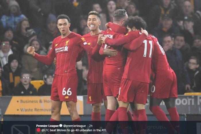 Para pemain Liverpool merayakan gol Jordan Henderson yang dicetak ke gawang Wolverhampton Wanderers pada pertandingan Liga Inggris ke-24, Kamis (23/1/2020).