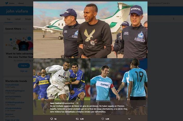 Kolase foto Jhon Viafara, mantan pemain Liga Inggris yang ditangkap karena impor dua ton kokain.
