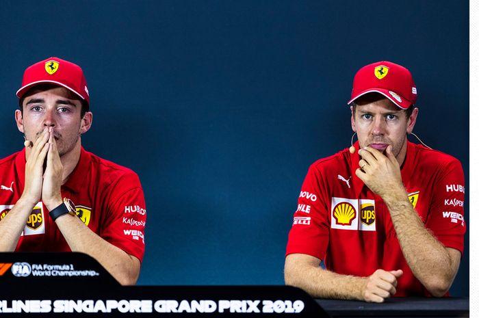 Dua pembalap Ferrari, Charles Leclerc dan Sebastian Vettel, saat konferensi pers prabalapan Formula 1 GP Singapura di Sirkuit Jalan Raya Marina Bay, 19 September 2019.