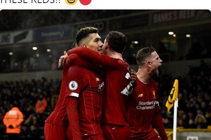Para pemain Liverpool merayakan gol yang dicetak oleh Roberto Firmino dalam laga Liga Inggris melawan Wolverhampton Wanderers di Stadion Molineux, Kamis (23/1/2020).