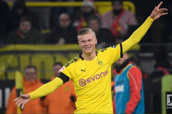 Erling Haaland, mencetak 2 gol dalam kemenangan 5-1 Borussia Dortmund atas Koeln pada pekan ke-19 Bundesliga, Jumat (24/1/2020) di Stadion Signal Iduna Park.