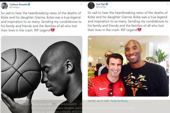 Twit Cristiano Ronaldo dan Luis Figo untuk mengenang Kobe Bryant.