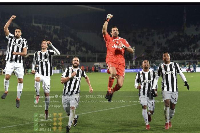 Juventus mengalahkan AC Milan pada final Coppa Italia di Stadio Olimpico, Roma, 9 Mei 2018.