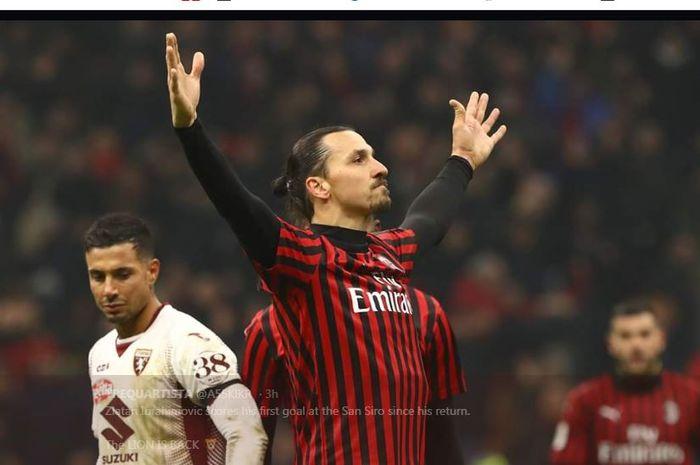 Zlatan Ibrahimovic merayakan golnya untuk AC Milan ke gawang Torino dalam partai Coppa Italia di San Siro, Milan, 28 Januari 2020.